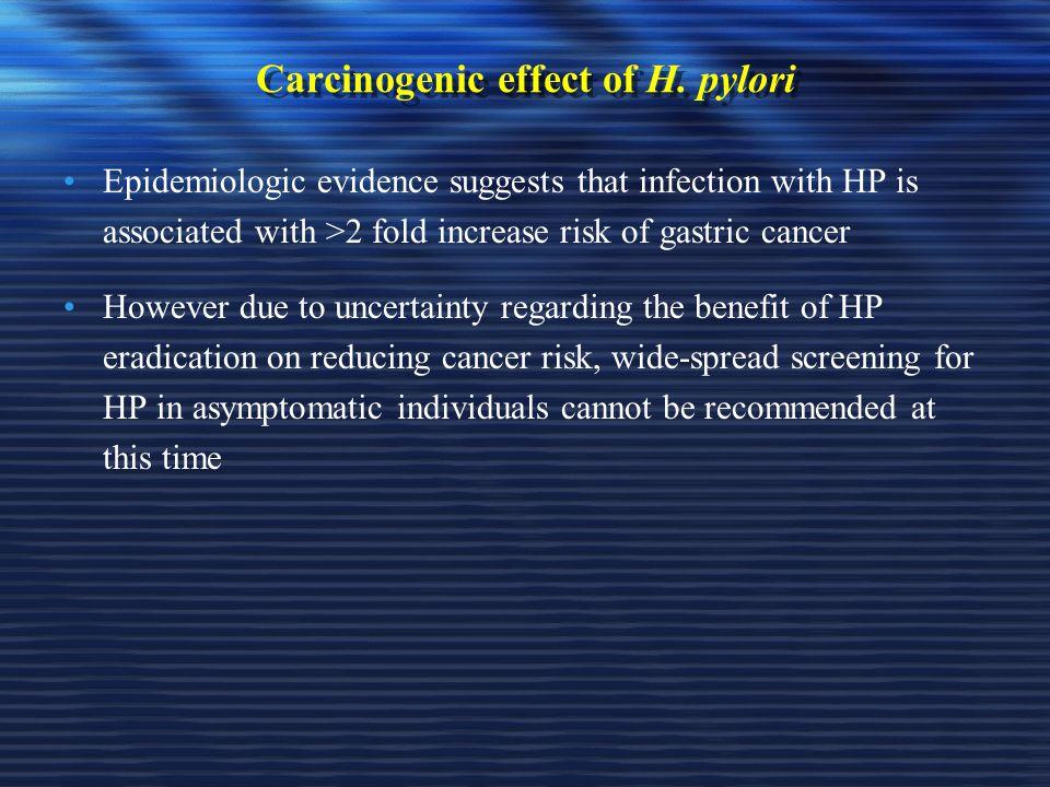Carcinogenic effect of H. pylori