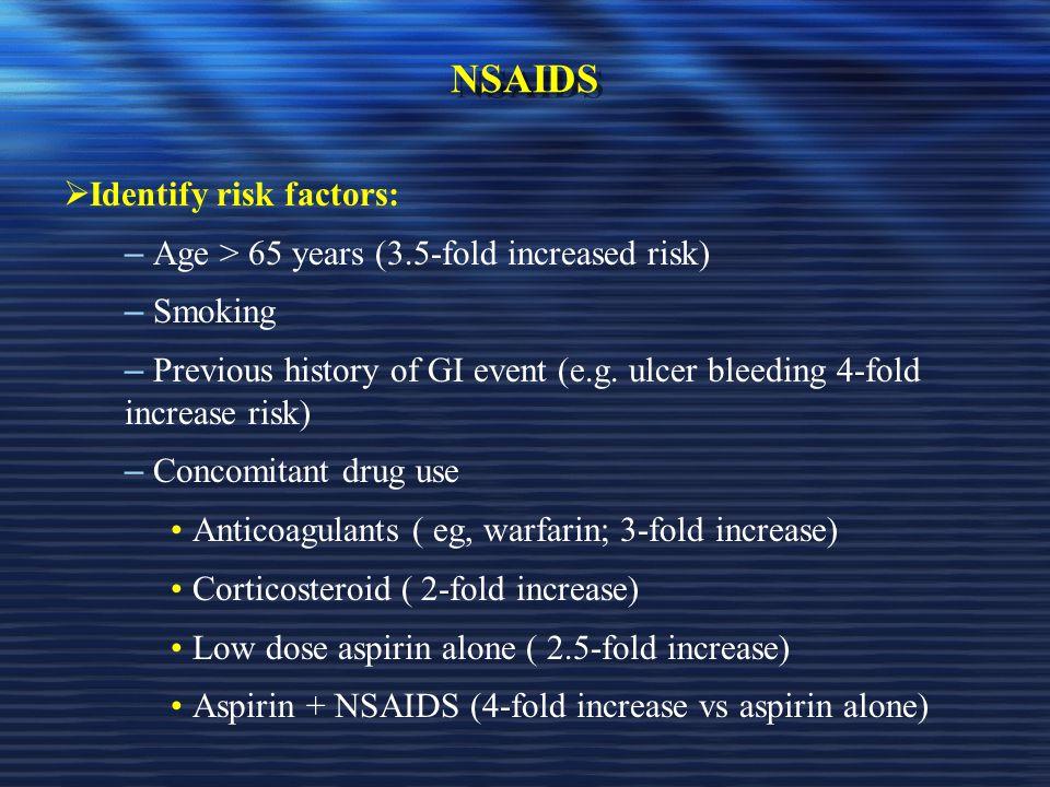 NSAIDS Identify risk factors: