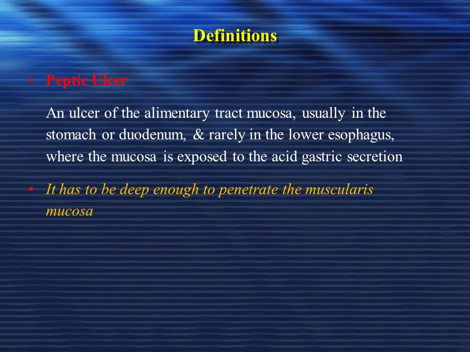 Definitions Peptic Ulcer