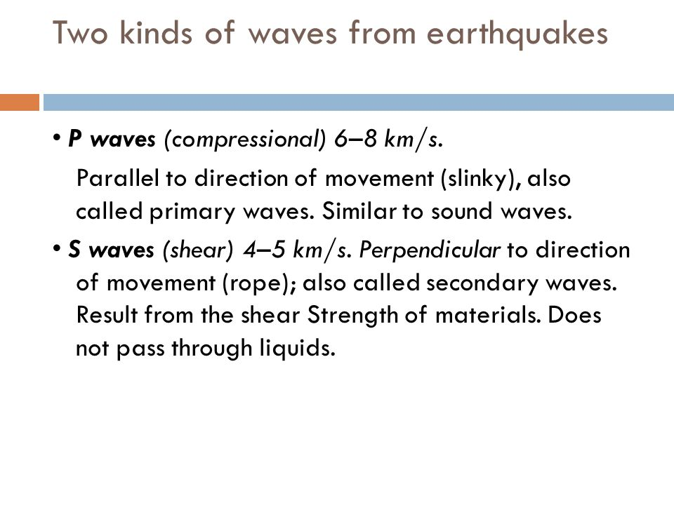 Two kinds of waves from earthquakes