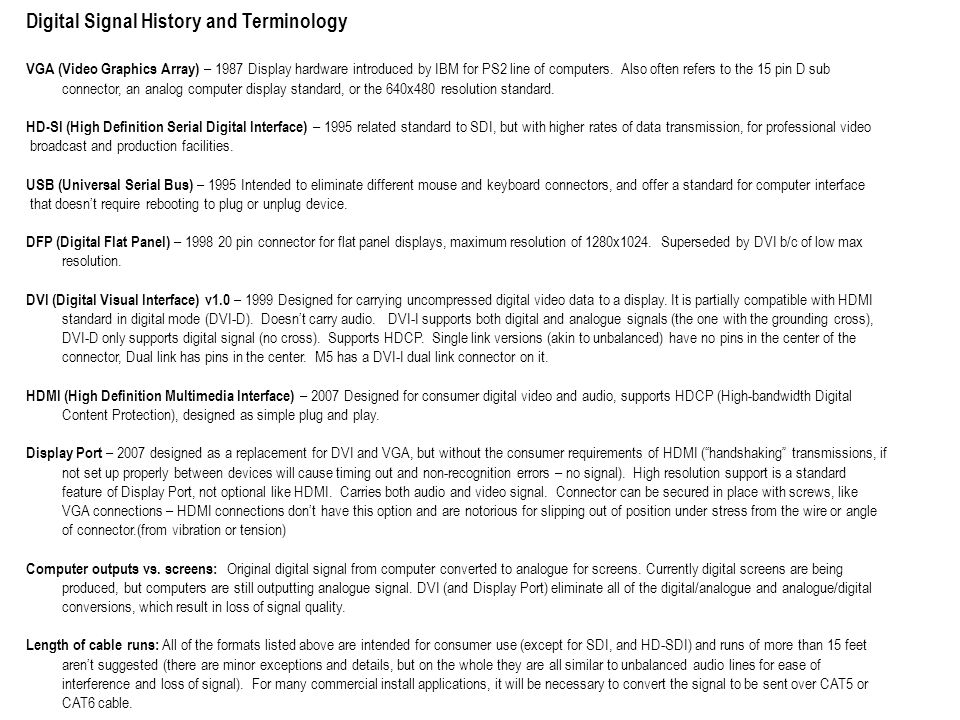 Digital Signal History and Terminology