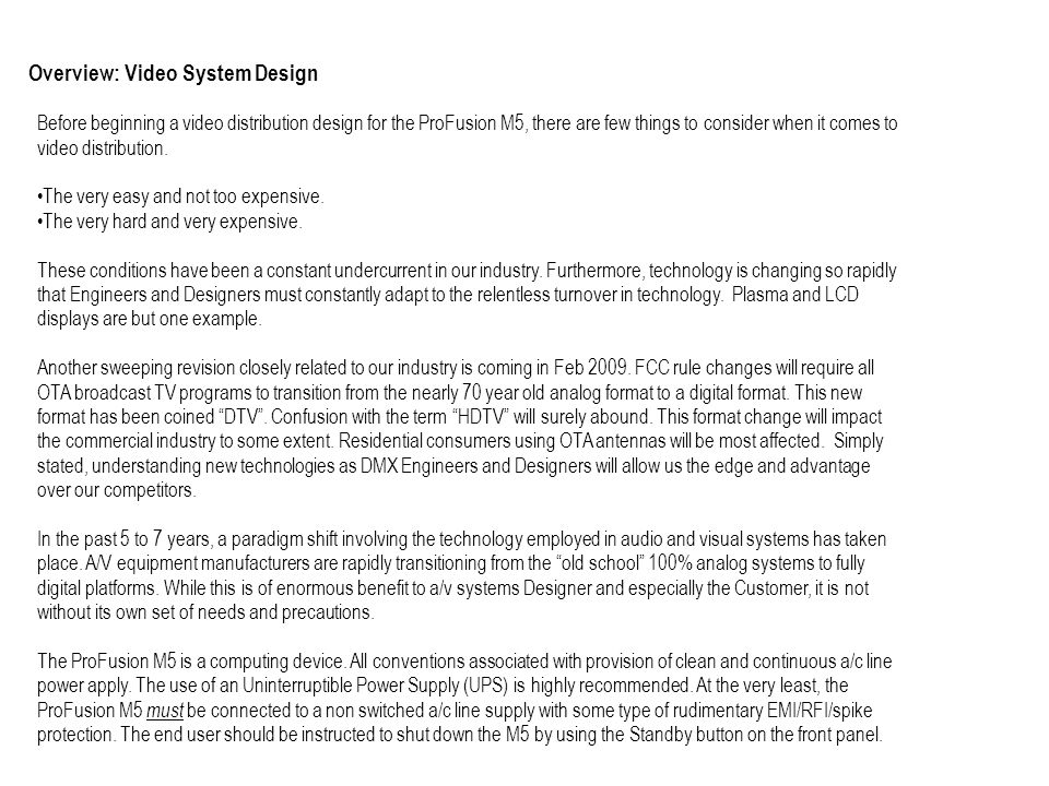 Overview: Video System Design