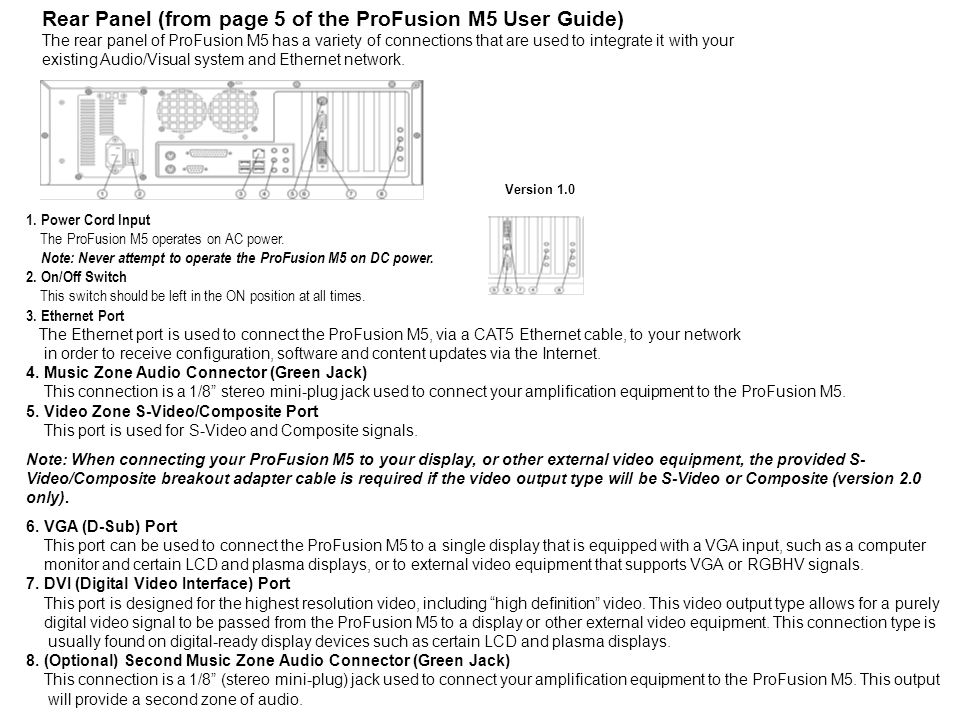 Rear Panel (from page 5 of the ProFusion M5 User Guide)