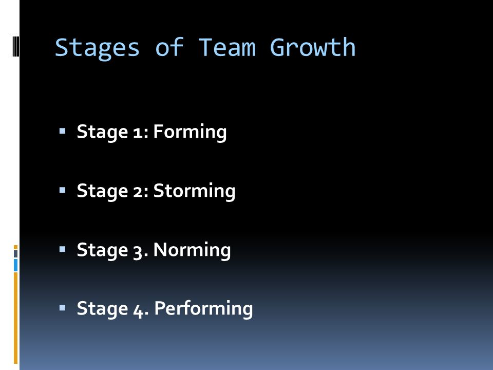 Stages of Team Growth Stage 1: Forming Stage 2: Storming
