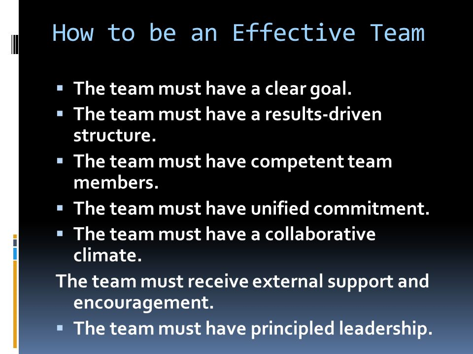 How to be an Effective Team