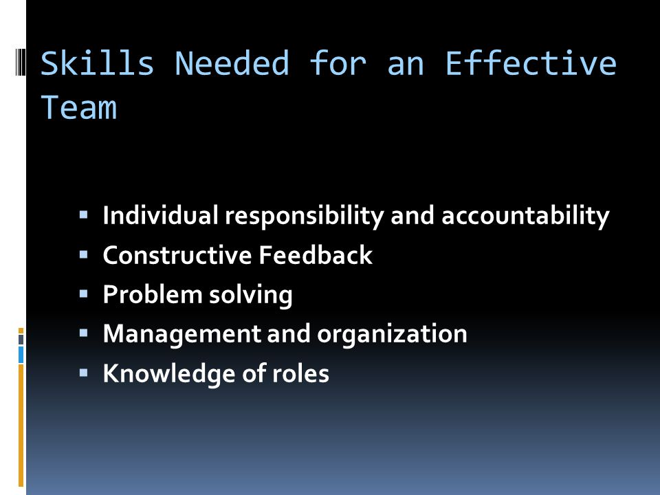 Skills Needed for an Effective Team