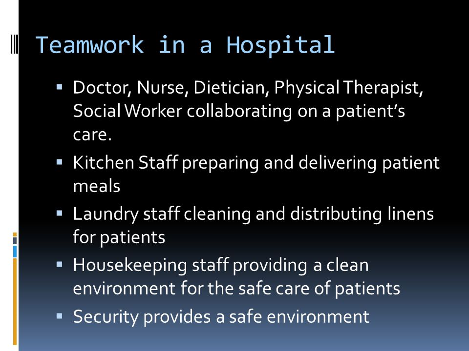 Teamwork in a Hospital Doctor, Nurse, Dietician, Physical Therapist, Social Worker collaborating on a patient's care.