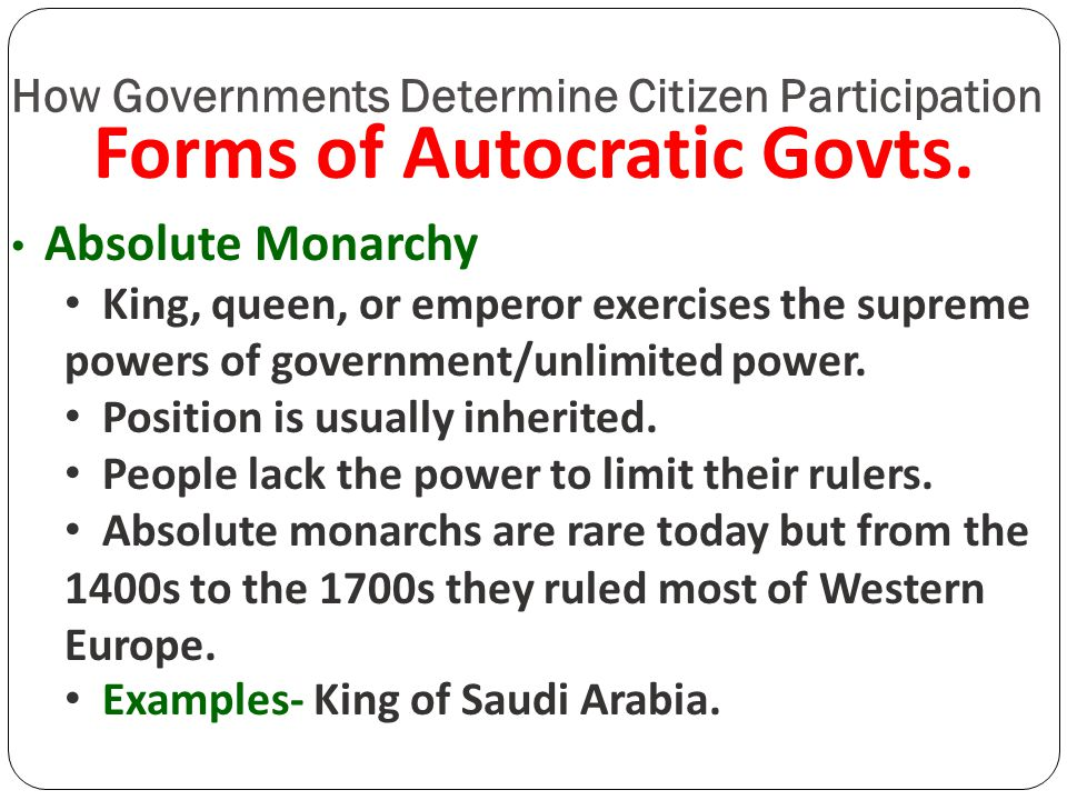 Autocracy Oligarchy Democracy - ppt download