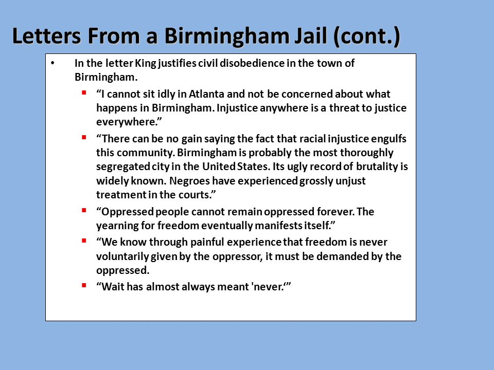letter from birmingham jail thesis sentence The letter from birmingham jail, also known as the letter from birmingham city  jail and the  on the margins of the newspaper in which the statement appeared  while i was in jail, the letter was continued on scraps  the essay was highly  anthologized, and was reprinted 50 times in 325 editions of 58 readers published .