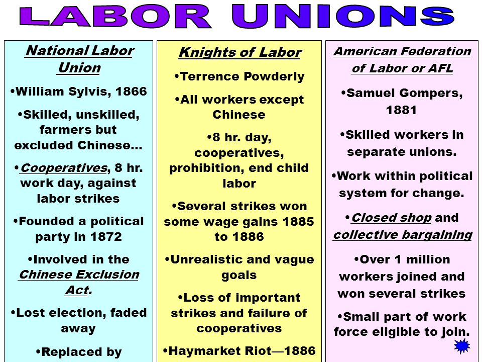 the objectives of the national labor union Labor unions national labor relations act (wagner act) several broad objectives characterize the labor movement as a whole in order to accomplish these.