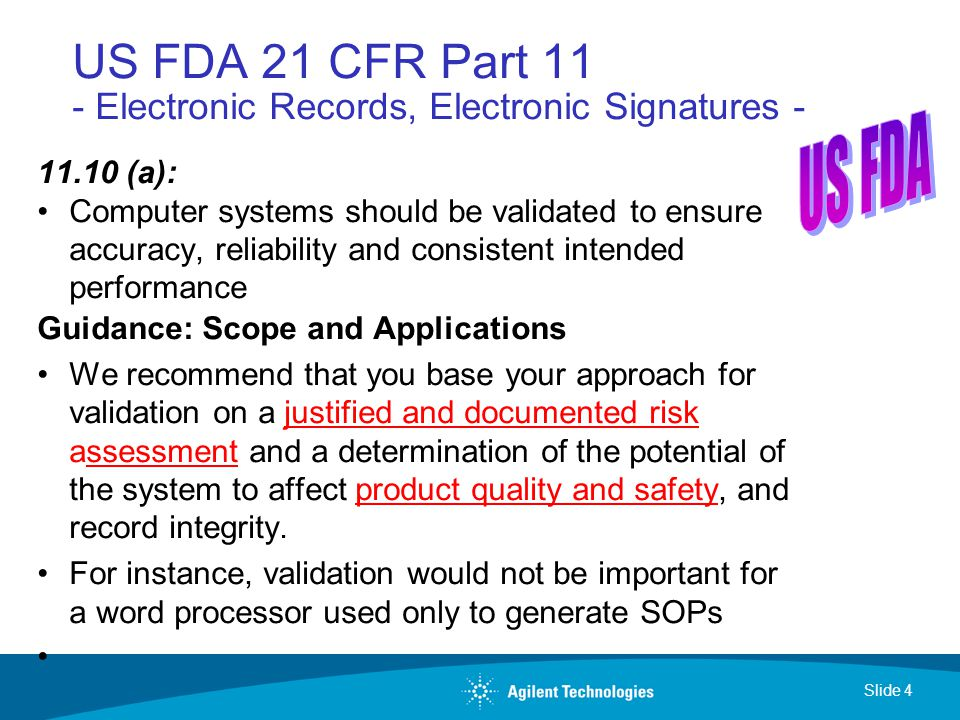 21cfr part 11 is used for validating records