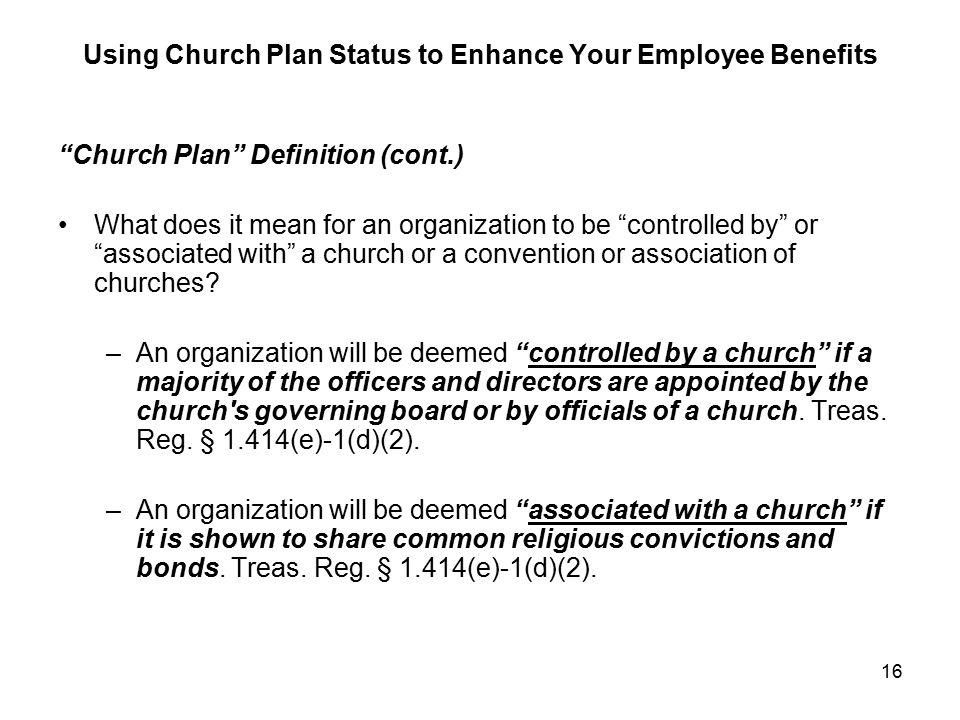Using Church Plan Status To Enhance Your Employee Benefits
