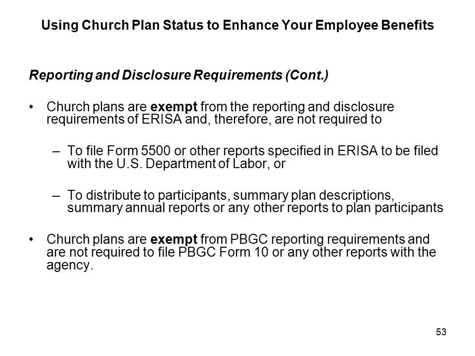 Using Church Plan Status to Enhance Your Employee Benefits James T ...