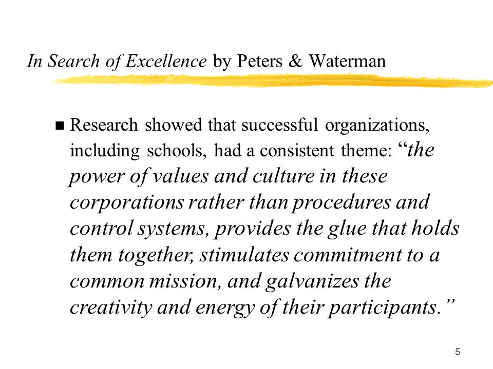 Organizational culture climate and change ppt video online download in search of excellence by peters waterman publicscrutiny