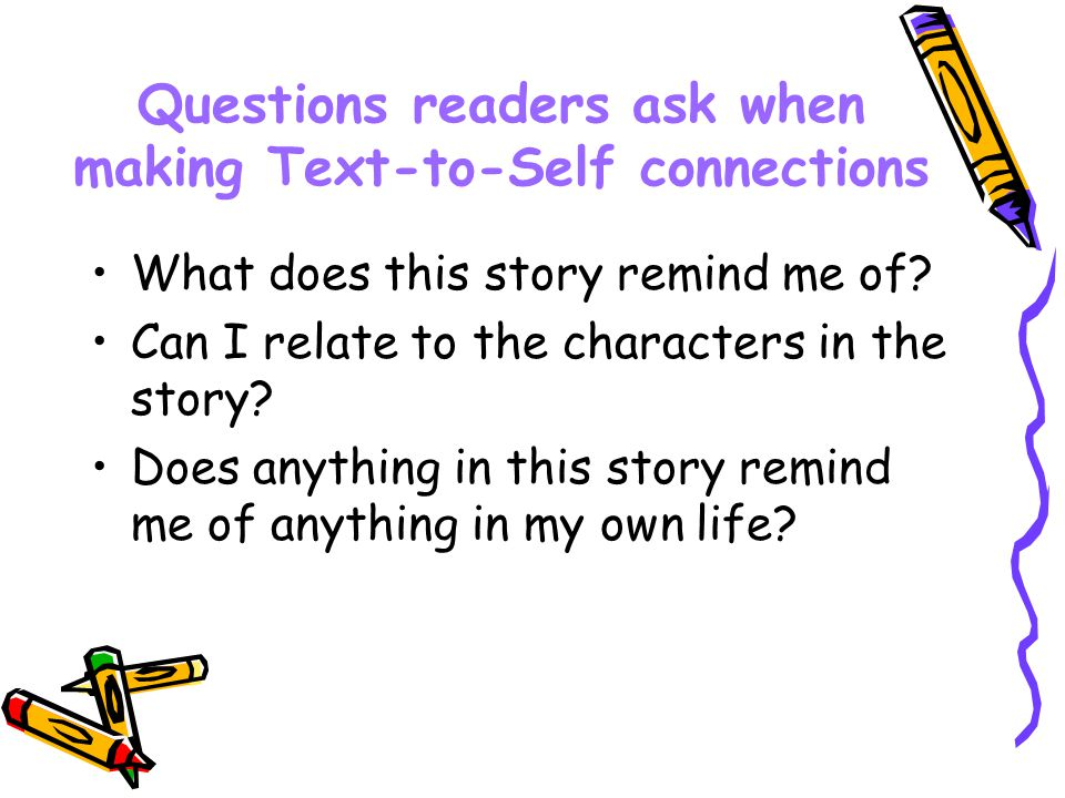 Questions readers ask when making Text-to-Self connections