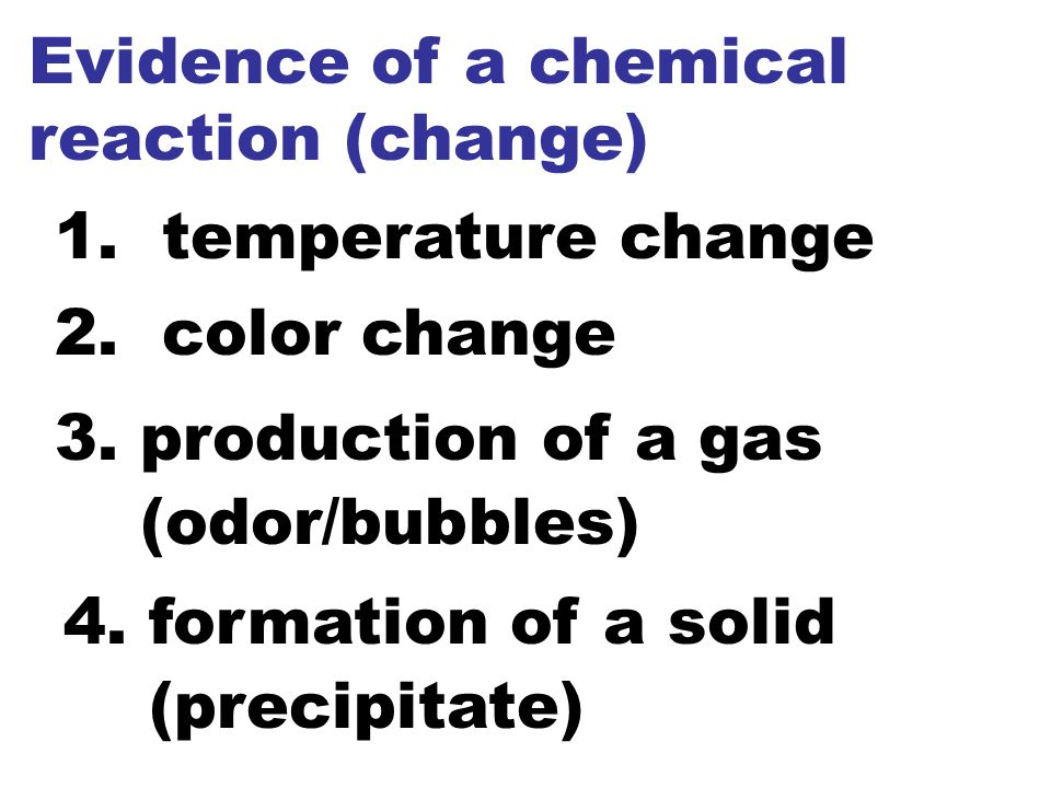 Evidence of a chemical reaction (change)