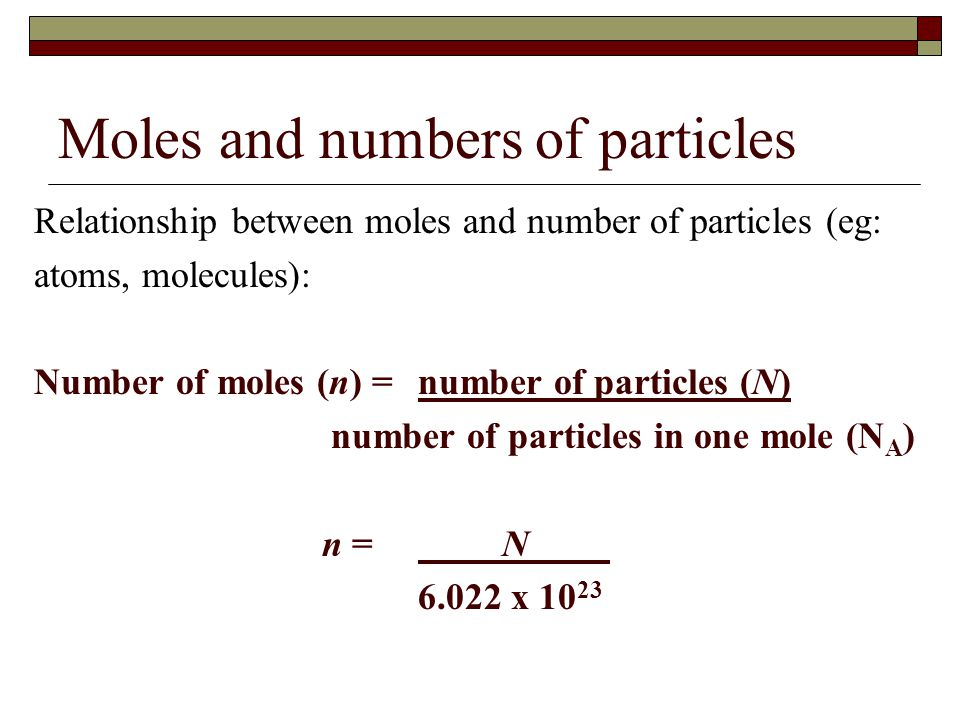 the mole number of particles relationship questions