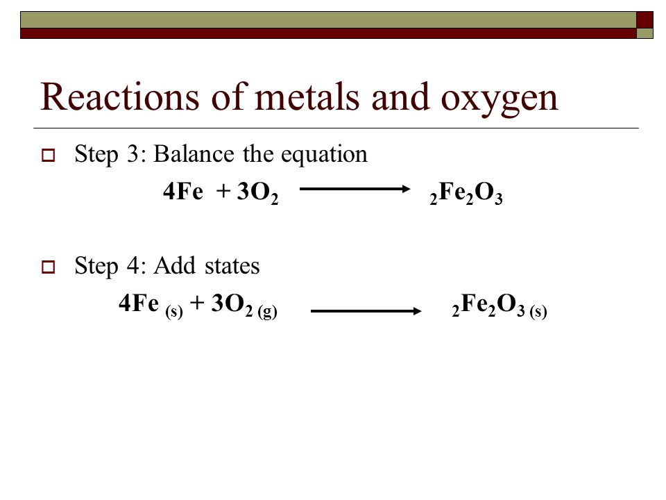 1. write a balanced equation for the reaction between iron and oxygen