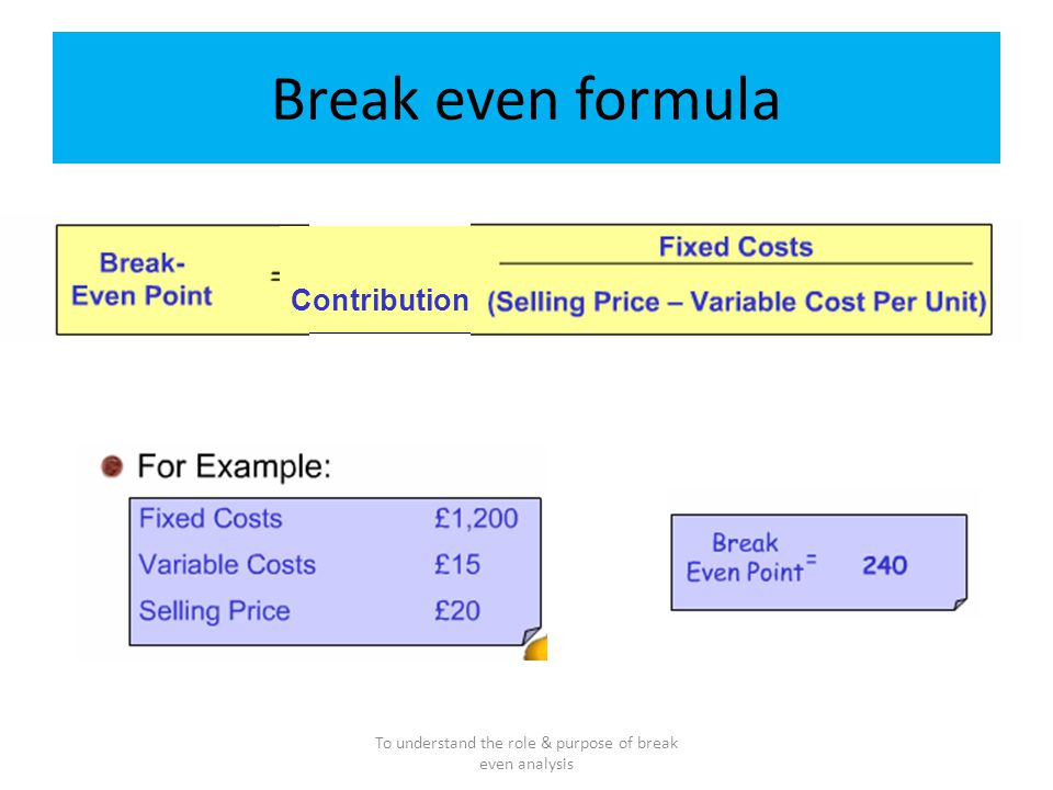 what is the role provided by break even point and how would you calculate this point Break-even analysis calculates the volume of production at a given price  if you have multiple products  books about break-even point : more about break-even.