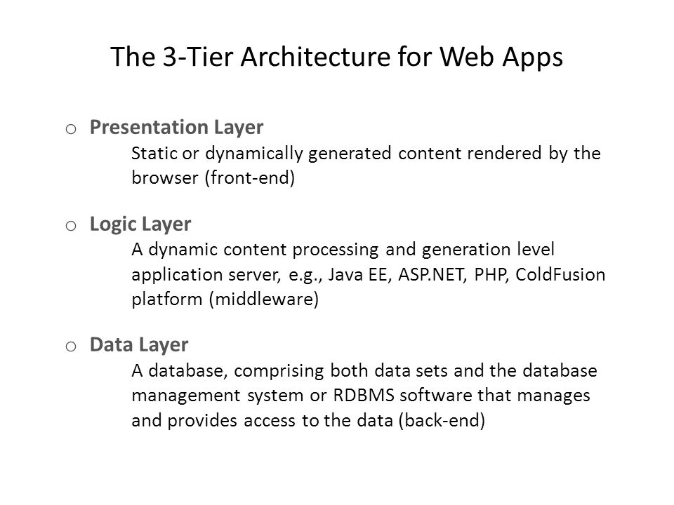 The 3-Tier Architecture for Web Apps