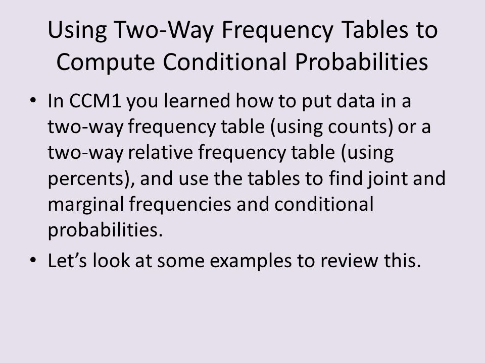 how to make a two way table for probability