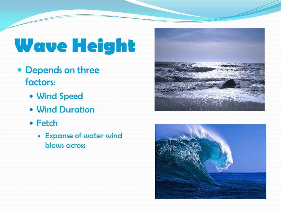 Wave Height Depends on three factors: Wind Speed Wind Duration Fetch