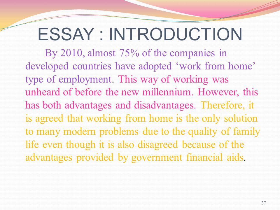 advantages of working from home essay