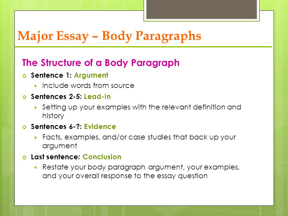 body of essay paragraph This packet discusses the essay, and how to write one this packet also discusses the different components of the essay including the intro, body and concluding paragraphs.