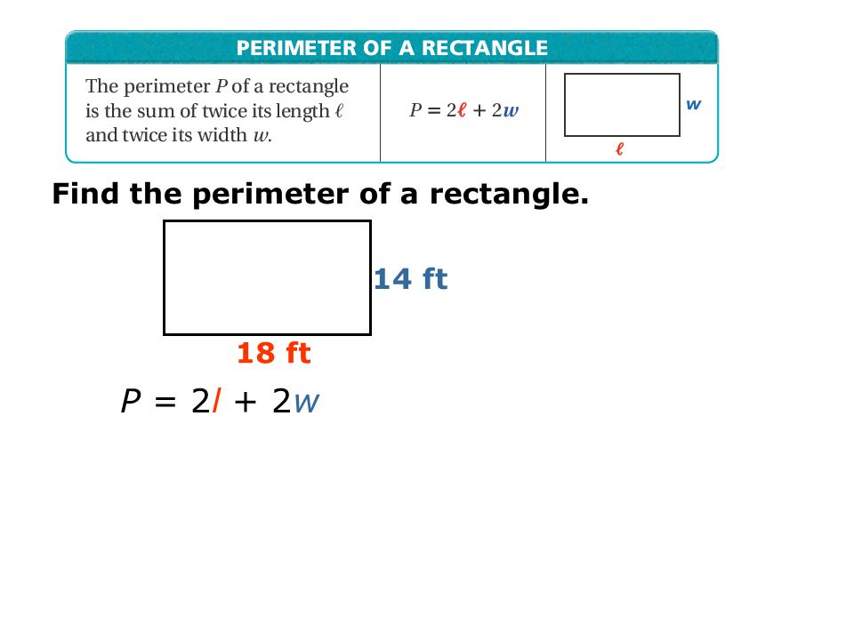 Find the perimeter of a rectangle.