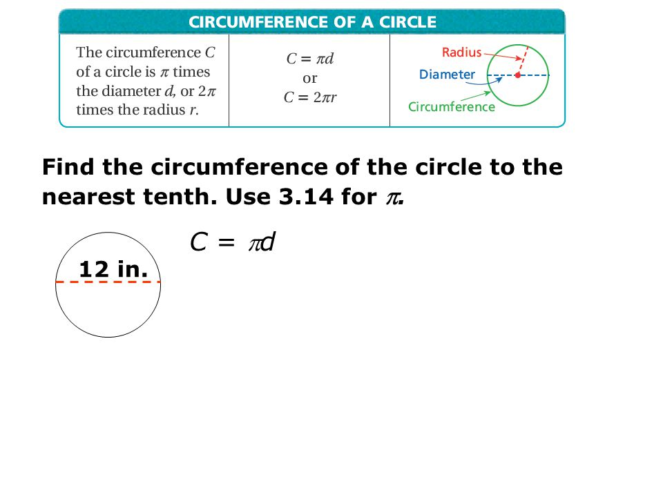 Find the circumference of the circle to the nearest tenth. Use 3