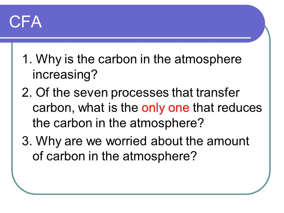 CFA 1. Why is the carbon in the atmosphere increasing