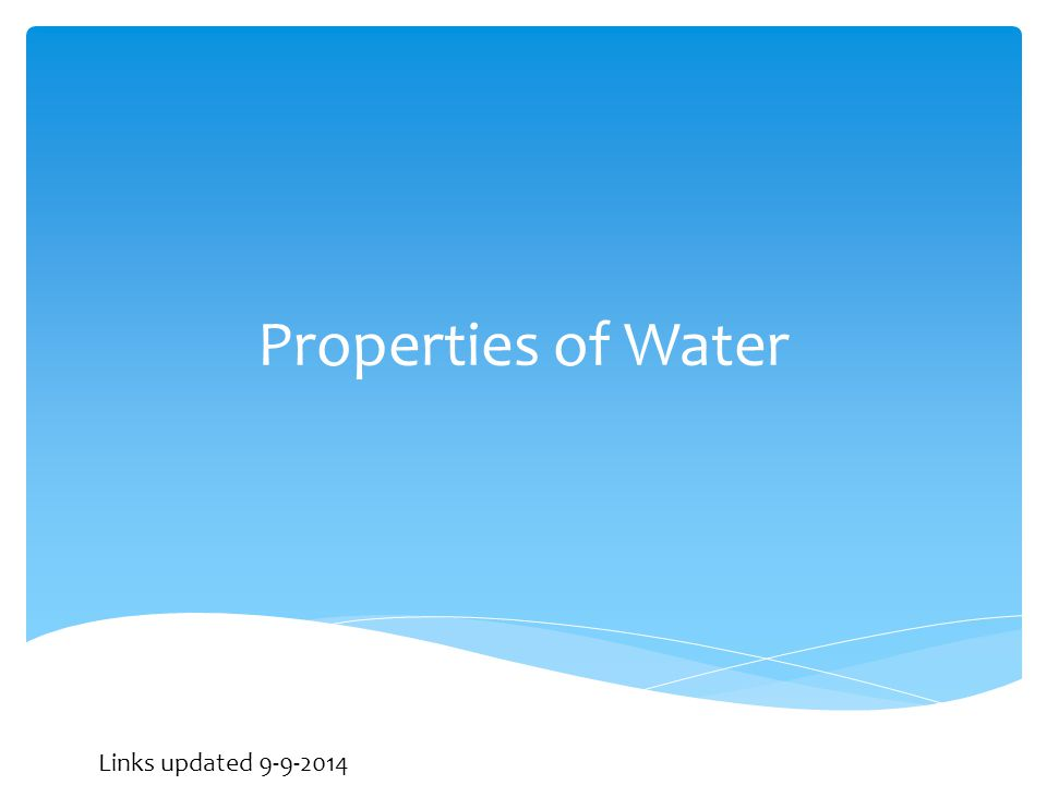 Properties of Water Links updated