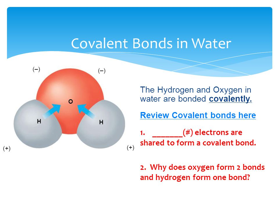 Covalent Bonds in Water