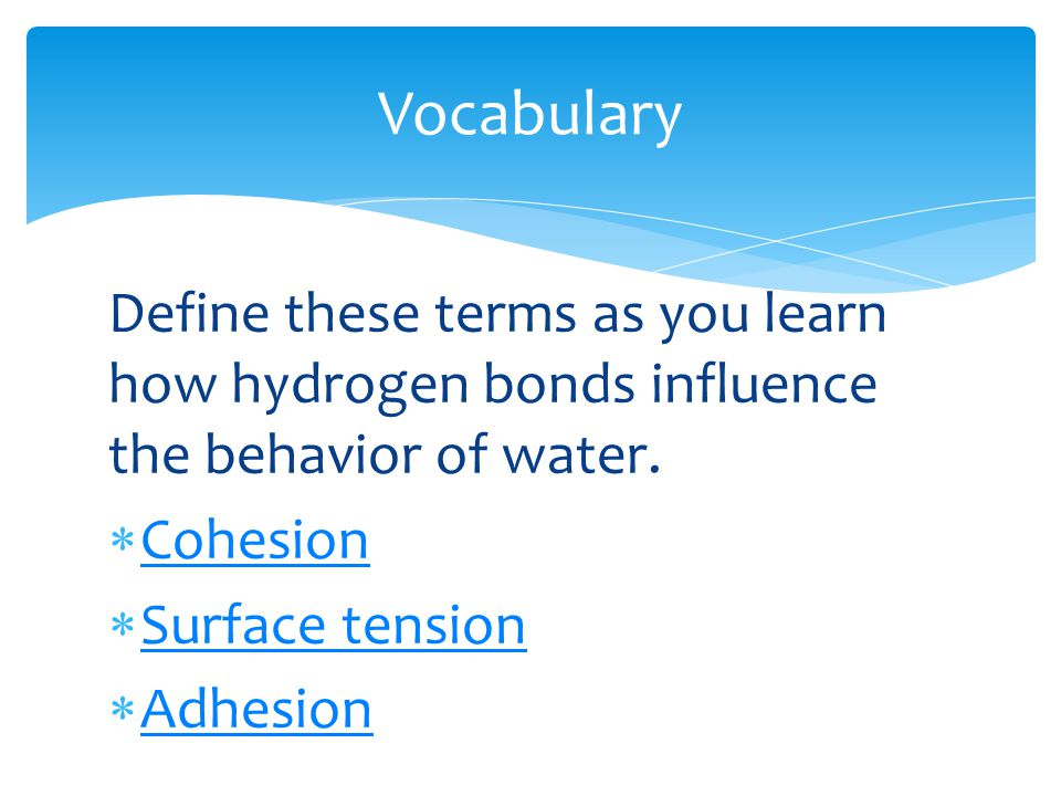 Vocabulary Define these terms as you learn how hydrogen bonds influence the behavior of water. Cohesion.