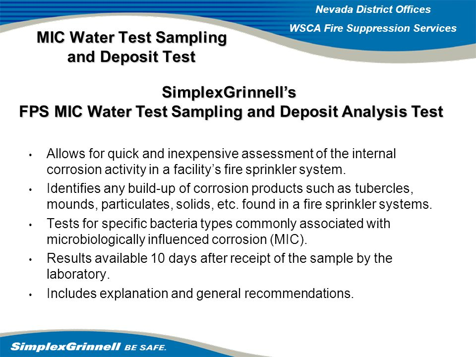 MIC Water Test Sampling and Deposit Test