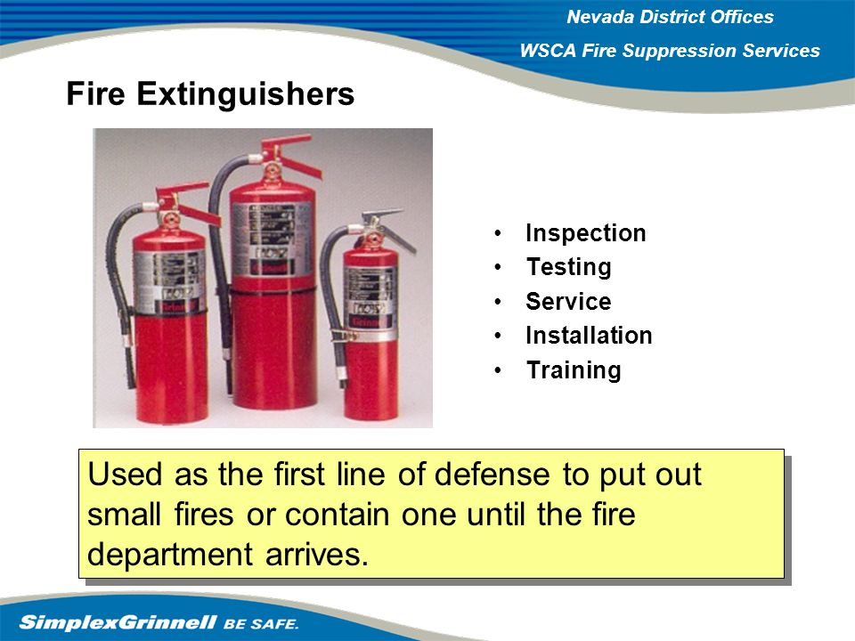Fire Extinguishers Inspection. Testing. Service. Installation. Training.