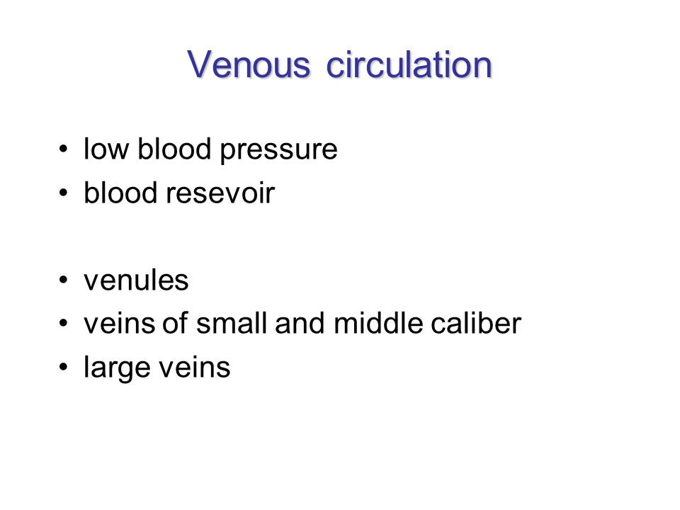Venous circulation low blood pressure blood resevoir venules