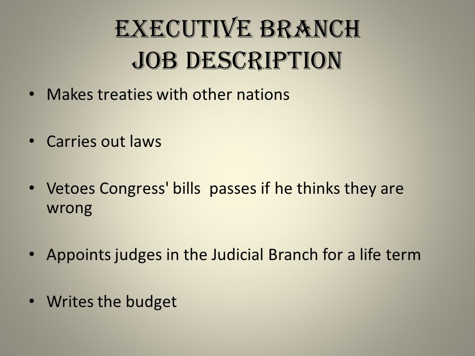 Executive Branch Job Description