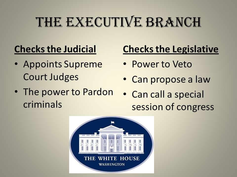 The Executive Branch Checks the Judicial Appoints Supreme Court Judges