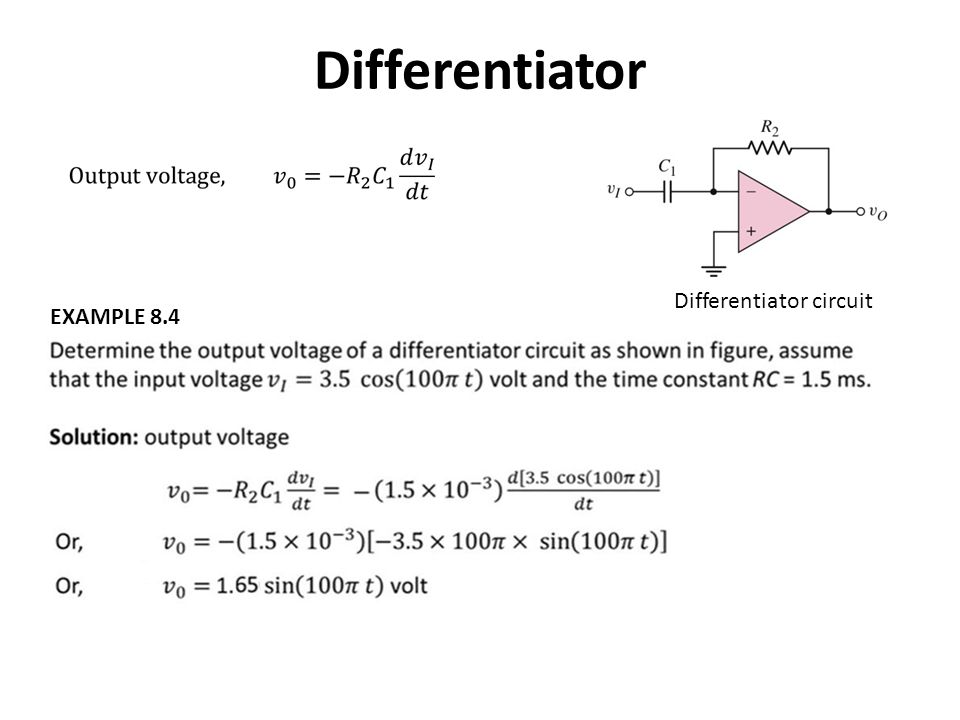 Differentiator Differentiator circuit EXAMPLE 8.4