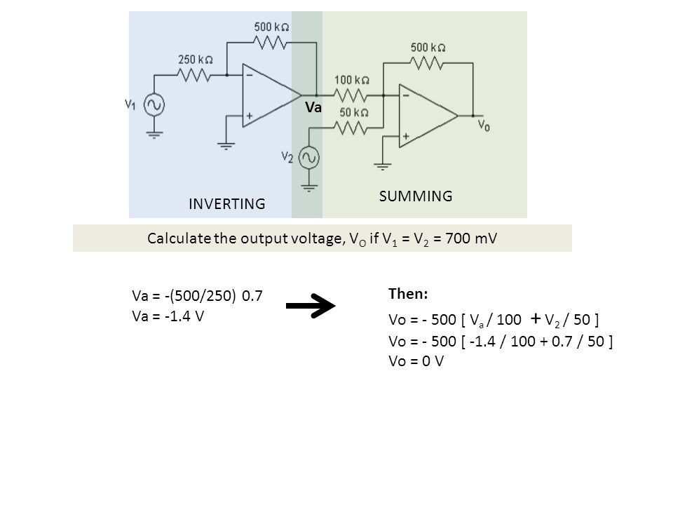 Calculate the output voltage, VO if V1 = V2 = 700 mV