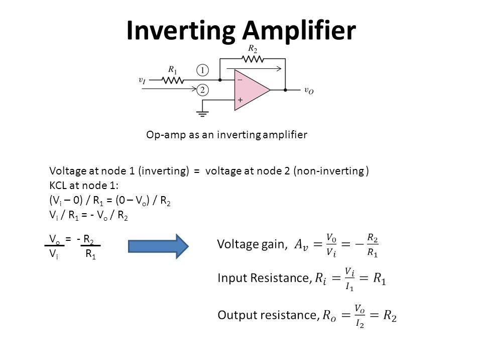 Inverting Amplifier Op-amp as an inverting amplifier