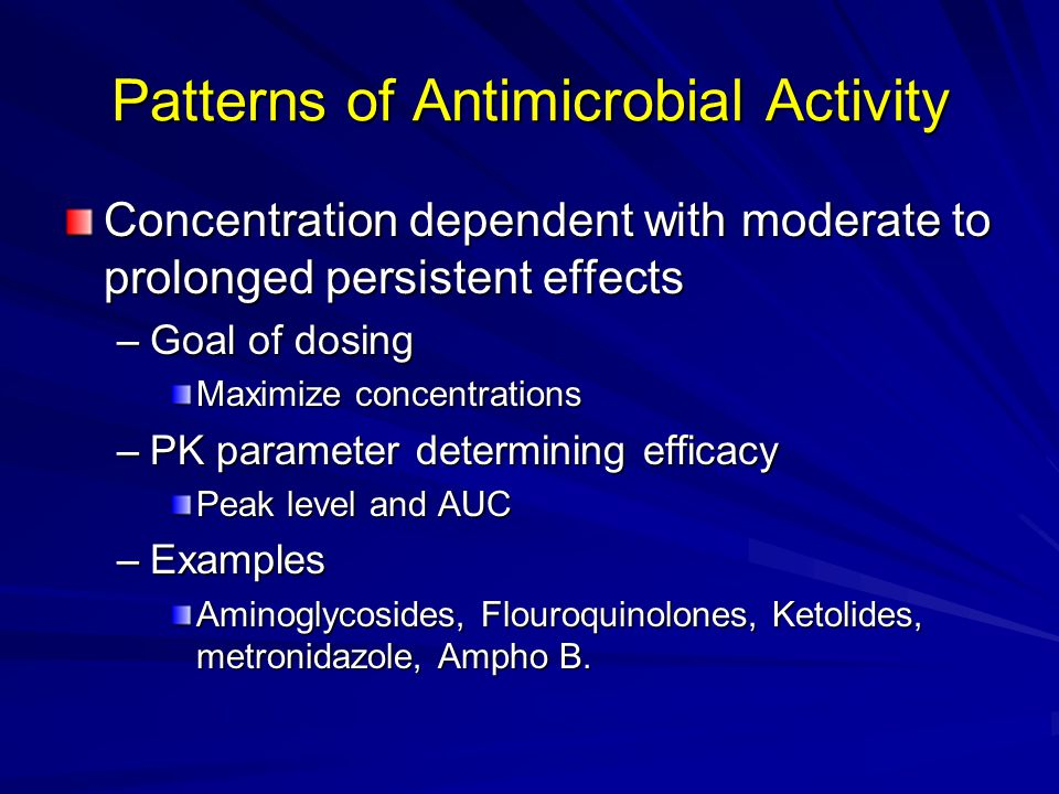 the effect of antibiotic concentration on Antimicrobial pharmacodynamics is the relationship between concentration of  antibiotic and its ability to inhibit vital processes of endo- or ectoparasites and  microbial organisms this branch of pharmacodynamics relates concentration of  an anti-infective agent to effect,.