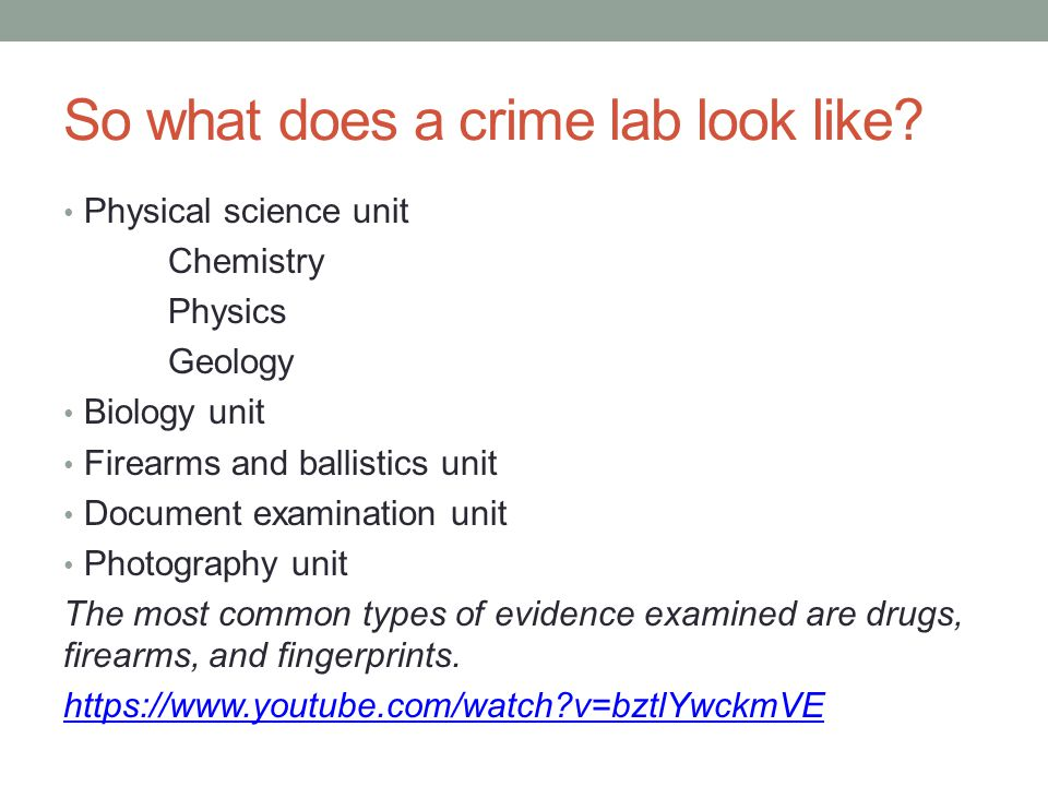 So what does a crime lab look like