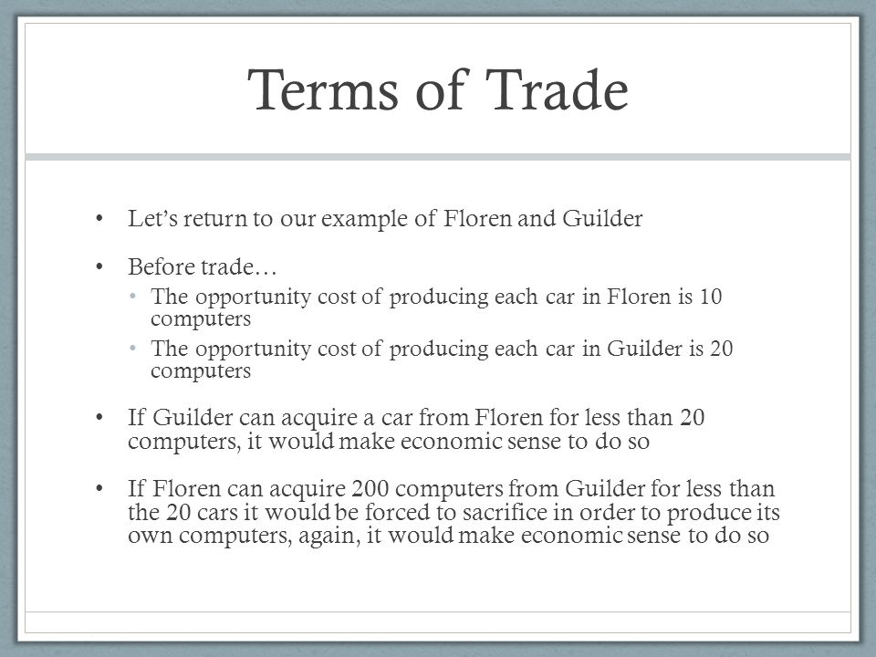 Terms of trade example