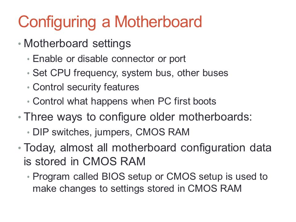how to set setting using cmos setup