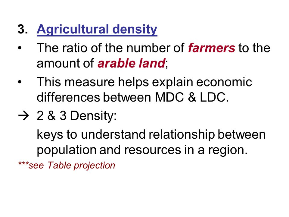 The ratio of the number of farmers to the amount of arable land;