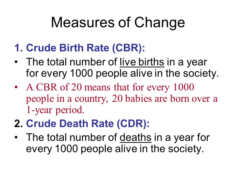 Measures of Change Crude Birth Rate (CBR):