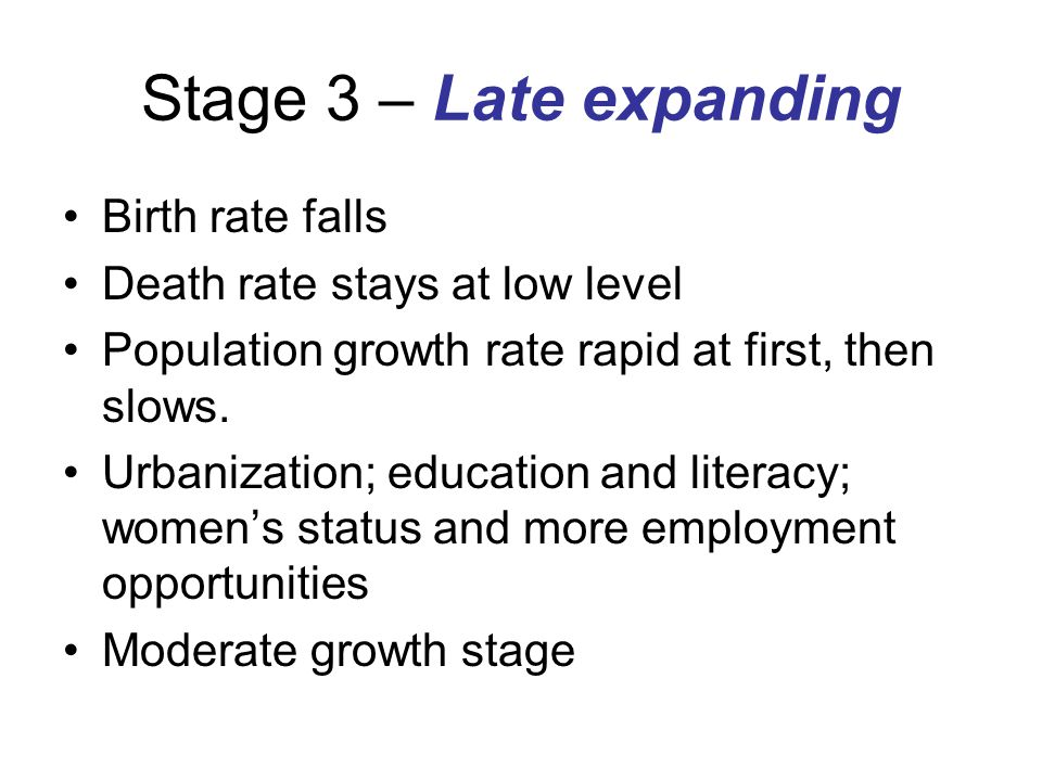 Stage 3 – Late expanding Birth rate falls