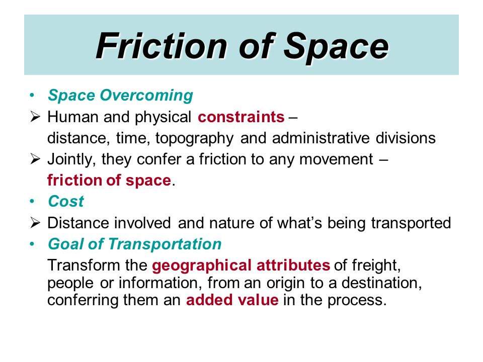 Friction of Space Space Overcoming Human and physical constraints –